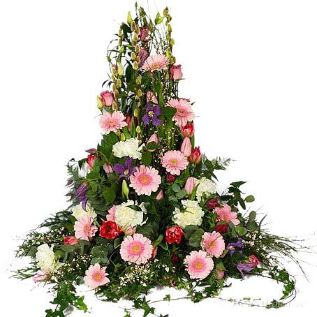 blommor begravning färg